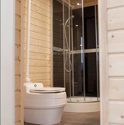 wooden house toilet