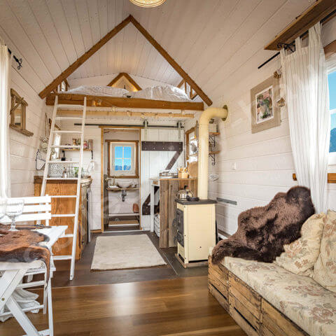 Tiny House France view inside the wooden house