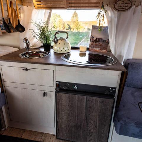 Caravan Eriba – kitchen area