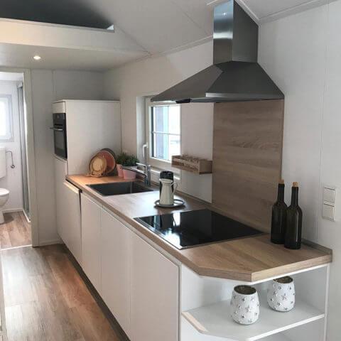 wooden house kitchen area