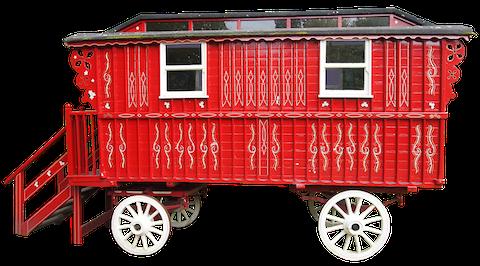 Historischer Schäferwagen in Rot